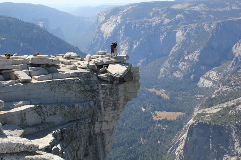 Standing on the famous Half Dome Visor.  Looking down 5000 to our campsite and remembering the 5000 people whose lives will be changed this month by Kidney cancer