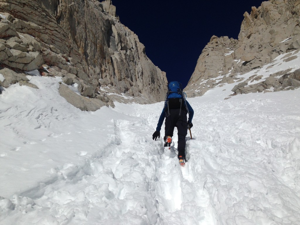 We start up the infamous couloir.  This interminable run of snow rises for nearly 1700 feet